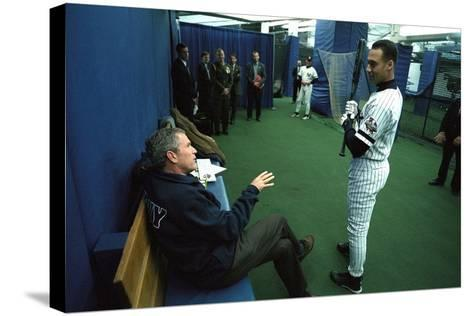 President George W. Bush Derek Jeter before the First Pitch in Game 3 of the World Series--Stretched Canvas Print