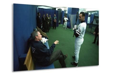 President George W. Bush Derek Jeter before the First Pitch in Game 3 of the World Series--Metal Print
