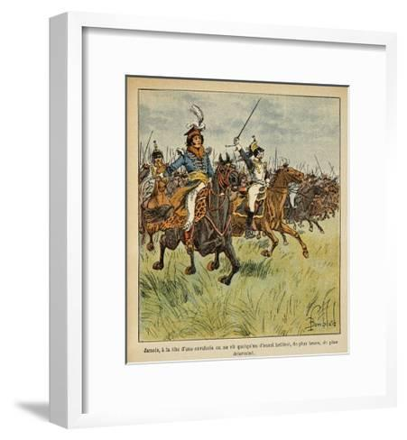 Napoleonic Wars, Joachim Murat Charging at the Head of His Cavalry-Louis Bombled-Framed Art Print