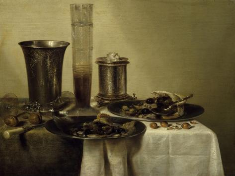 A Dessert, Previously Called Still Life with Silver Tumbler. 1637-Willem Claesz Heda-Stretched Canvas Print