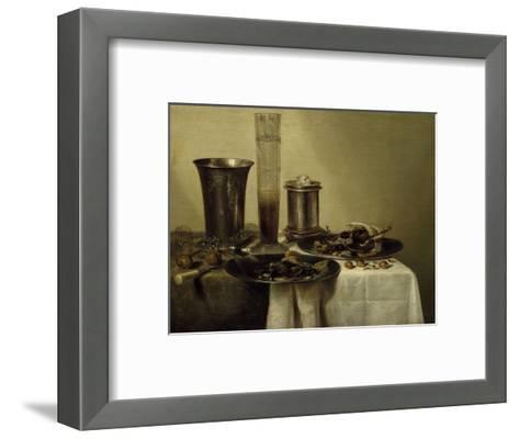 A Dessert, Previously Called Still Life with Silver Tumbler. 1637-Willem Claesz Heda-Framed Art Print