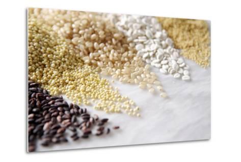 Grain Still Life: Brown Rice, Millet, Rice, Pearl Barley, Amaranth- Amana Images Inc.-Metal Print