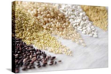 Grain Still Life: Brown Rice, Millet, Rice, Pearl Barley, Amaranth- Amana Images Inc.-Stretched Canvas Print