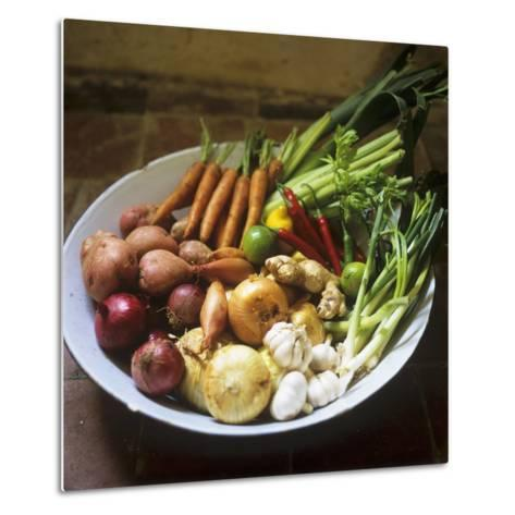 A Bowl of Vegetables, Citrus Fruits and Spices-Tara Fisher-Metal Print