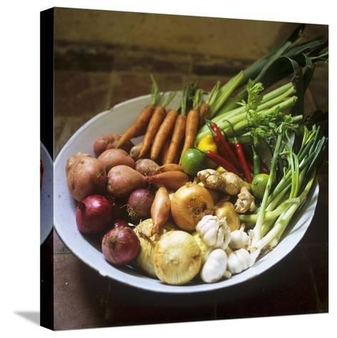 A Bowl of Vegetables, Citrus Fruits and Spices-Tara Fisher-Stretched Canvas Print