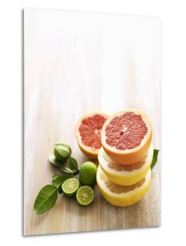 Halved Grapefruits and Limes-Louise Lister-Metal Print