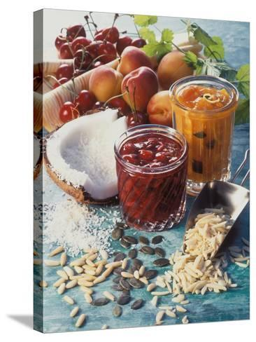 Cherry Jam with Coconut and Apricot Jam with Almonds-Martina Urban-Stretched Canvas Print