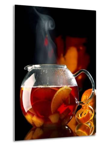 Steaming Red Wine Punch with Pieces of Fruit in Glass Teapot-J?rgen Klemme-Metal Print