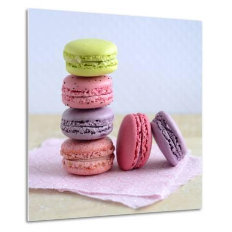 Colored Macaroons on a Platter-Sonia Chatelain-Metal Print
