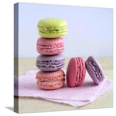 Colored Macaroons on a Platter-Sonia Chatelain-Stretched Canvas Print