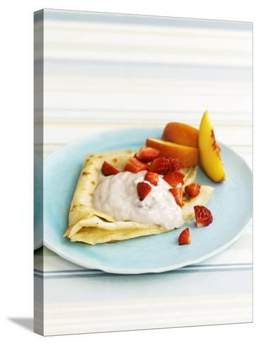 Pancakes with Fruit and Yoghurt Sauce-Gareth Morgans-Stretched Canvas Print