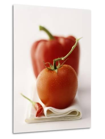 A Still Life Featuring a Red Pepper, a Tomato and a Red Chilli-Michael Wissing-Metal Print