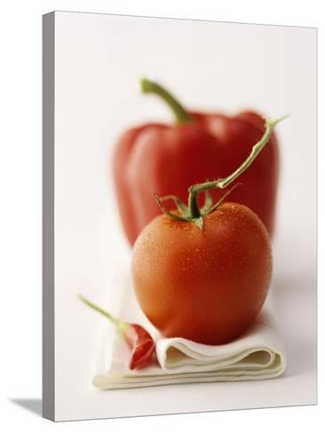 A Still Life Featuring a Red Pepper, a Tomato and a Red Chilli-Michael Wissing-Stretched Canvas Print