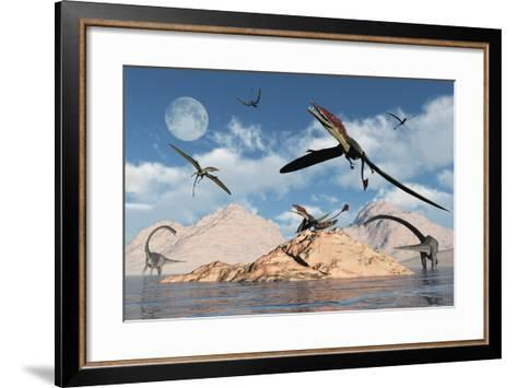 Eudimorphodons from the Triassic Period of Earth-Stocktrek Images-Framed Art Print