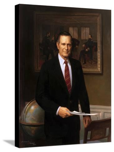 Presidential Portrait of President George H.W. Bush-Stocktrek Images-Stretched Canvas Print