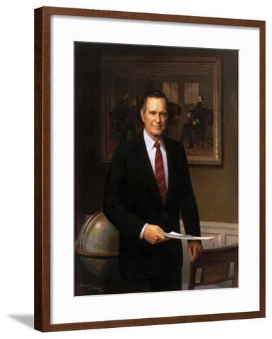 Presidential Portrait of President George H.W. Bush-Stocktrek Images-Framed Art Print