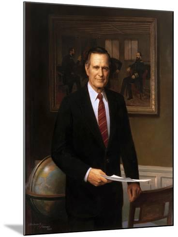 Presidential Portrait of President George H.W. Bush-Stocktrek Images-Mounted Art Print
