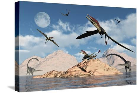 Eudimorphodons from the Triassic Period of Earth-Stocktrek Images-Stretched Canvas Print