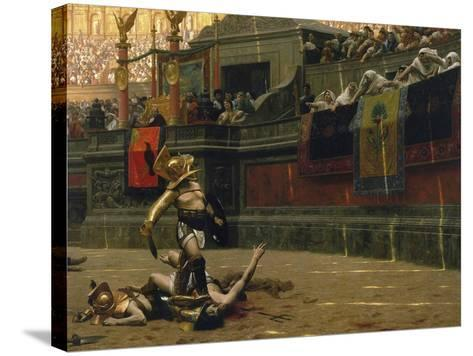 Vintage Print of a Roman Gladiator with His Defeated Opponent-Stocktrek Images-Stretched Canvas Print