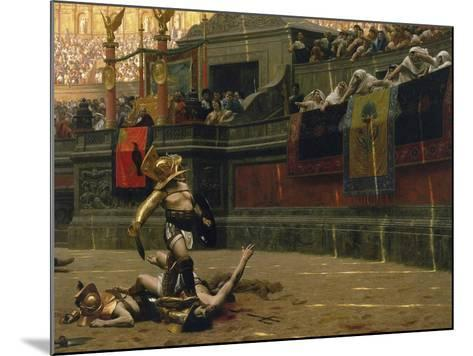 Vintage Print of a Roman Gladiator with His Defeated Opponent-Stocktrek Images-Mounted Art Print