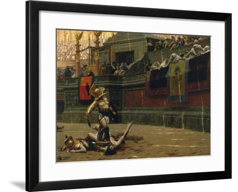 Vintage Print of a Roman Gladiator with His Defeated Opponent-Stocktrek Images-Framed Art Print