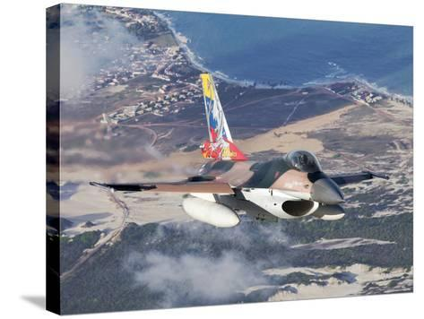 Venezuelan Air Force F-16A Flying over Natal, Brazil-Stocktrek Images-Stretched Canvas Print