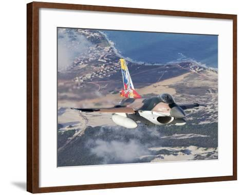 Venezuelan Air Force F-16A Flying over Natal, Brazil-Stocktrek Images-Framed Art Print