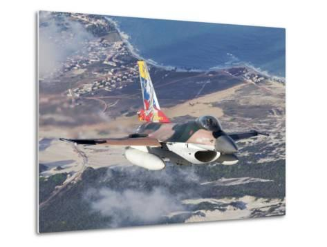 Venezuelan Air Force F-16A Flying over Natal, Brazil-Stocktrek Images-Metal Print