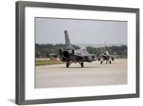 A Pair of U.S. Air Force F-16C Fighting Falcons Taxiing on the Runway-Stocktrek Images-Framed Art Print