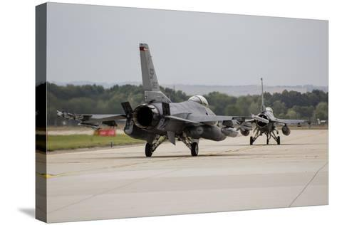 A Pair of U.S. Air Force F-16C Fighting Falcons Taxiing on the Runway-Stocktrek Images-Stretched Canvas Print