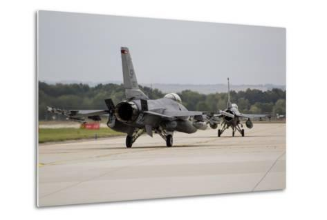 A Pair of U.S. Air Force F-16C Fighting Falcons Taxiing on the Runway-Stocktrek Images-Metal Print
