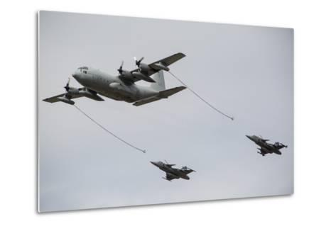A Swedish Air Force C-130E Hercules with Two Czech Air Force Gripens in Tow-Stocktrek Images-Metal Print
