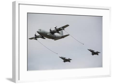 A Swedish Air Force C-130E Hercules with Two Czech Air Force Gripens in Tow-Stocktrek Images-Framed Art Print