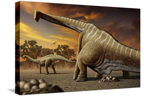 A Female Apatosaurus Laying Her Eggs in Nest-Stocktrek Images-Stretched Canvas Print