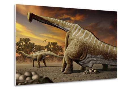 A Female Apatosaurus Laying Her Eggs in Nest-Stocktrek Images-Metal Print