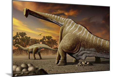 A Female Apatosaurus Laying Her Eggs in Nest-Stocktrek Images-Mounted Art Print