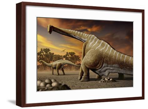 A Female Apatosaurus Laying Her Eggs in Nest-Stocktrek Images-Framed Art Print