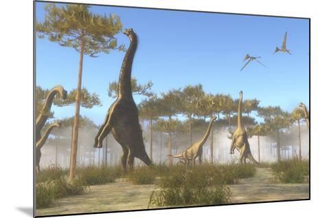A Brachiosaurus Herd Grazing on Treetops-Stocktrek Images-Mounted Art Print
