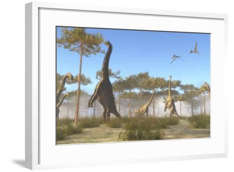 A Brachiosaurus Herd Grazing on Treetops-Stocktrek Images-Framed Art Print