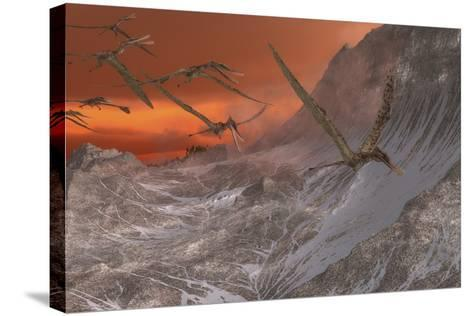 A Flock of Zhenyuanopterus Flying Past the Mountainside-Stocktrek Images-Stretched Canvas Print