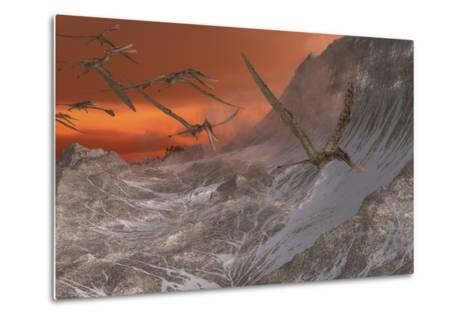A Flock of Zhenyuanopterus Flying Past the Mountainside-Stocktrek Images-Metal Print