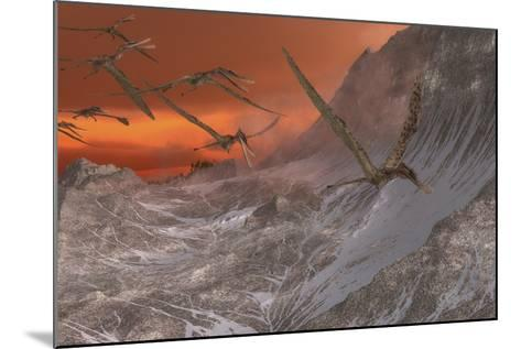 A Flock of Zhenyuanopterus Flying Past the Mountainside-Stocktrek Images-Mounted Art Print