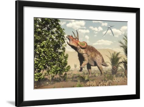 Triceratops Grazing on a Magnolia Tree-Stocktrek Images-Framed Art Print