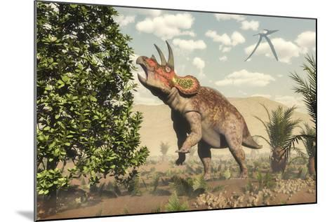 Triceratops Grazing on a Magnolia Tree-Stocktrek Images-Mounted Art Print