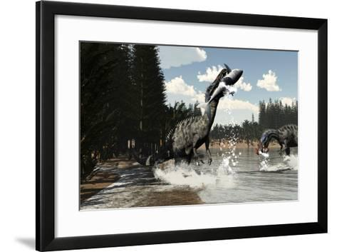 Two Suchomimus Dinosaurs Catch a Fish and Shark-Stocktrek Images-Framed Art Print