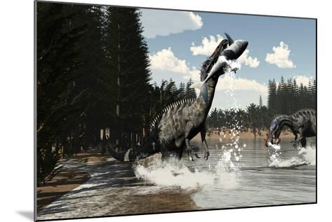 Two Suchomimus Dinosaurs Catch a Fish and Shark-Stocktrek Images-Mounted Art Print