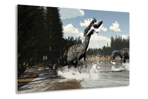 Two Suchomimus Dinosaurs Catch a Fish and Shark-Stocktrek Images-Metal Print