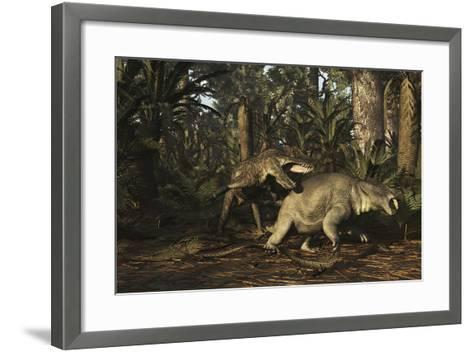 Postosuchus Attacking a Dicynodont in a Triassic Forest-Stocktrek Images-Framed Art Print