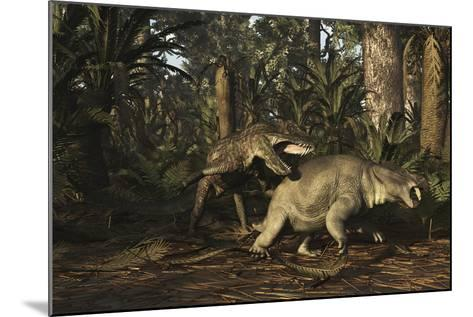 Postosuchus Attacking a Dicynodont in a Triassic Forest-Stocktrek Images-Mounted Art Print