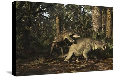 Postosuchus Attacking a Dicynodont in a Triassic Forest-Stocktrek Images-Stretched Canvas Print